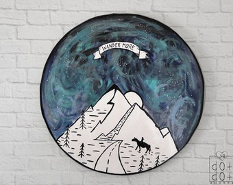 Boho Mountain Painting,Wander painting,Wanderlust picture,black and white outline painting,Circle painting,circle wall decor,boho home decor