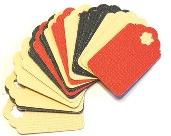 15 Small Gift Tags: Red, Black and Biege textured Cardstock Gift Tags - assorted colors - 1 inch tags