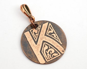 Letter K pendant, small round flat metal copper etched monogram initial, optional necklace, 25mm