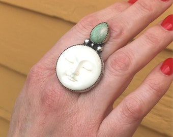 Moon Goddess Ring, Sterling Silver Ring, Moon Ring, Carved Bone Ring, Variscite Ring, Statement Ring, Size 7.25 Ring