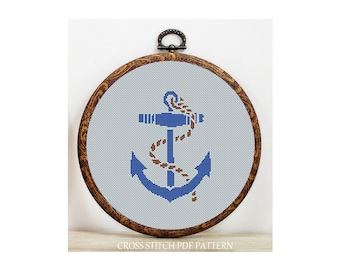 Anchor-Cross Stitch Pattern-Modern Sampler-Pdf-Instant Download