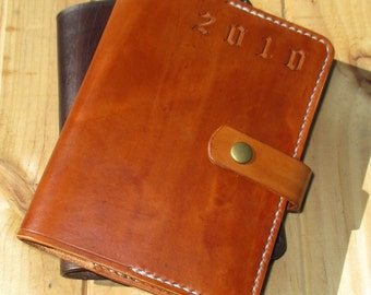 Personalized Leather Journal. Embossed Diary. Book Cover A6 Gift