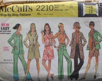 McCall's 2210 - Dress, Blouse, Lined Coat or Jacket, Straight Leg Pants and Hat Sewing Pattern - Size 12, Bust 34