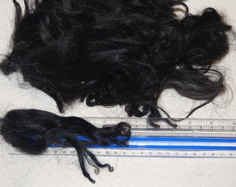 Karakul Sheep Wool Locks for Spinning Felting and Doll Hair, Doll Wig, in Natural Shades of Black with traces of gray 1 oz.