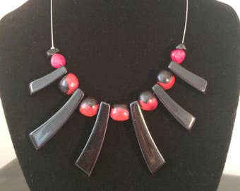 Necklace style red and black African