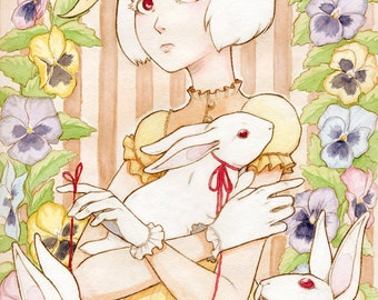 White Rabbit Print 4.5x6 8x10 Watercolor Lolita Original Art Postcard