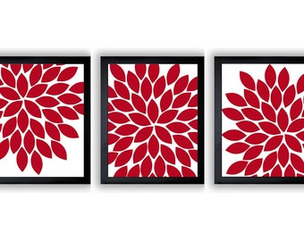 Flower Print Red Chrysanthemum Flower White Set of 3 Art Print Wall Decor Bathroom Modern Minimalist