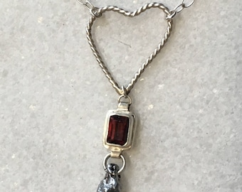 Garnet Red Pendant - Meteorite Necklace