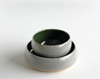 Ceramic Grey & Green Bowls Set