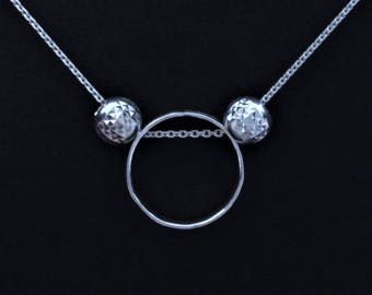 Sterling Silver Circle Necklace with Removable Beads