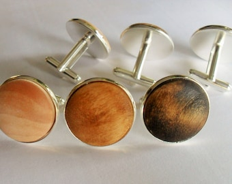 Real WOOD CUFF LINKS / wood cufflinks / silver/ Rustic / 5th anniversary / Groomsmen Gift / Carpenter / Choice of Color /  Wooden Cufflinks