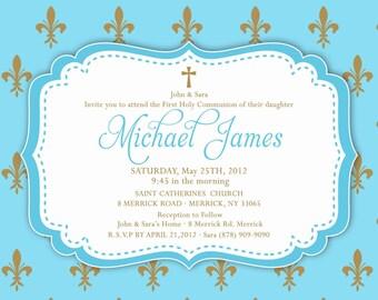 Baptism / Christening / Communion / Dedication Invitation Baby Girl or Boy 5x7 or 4x6 Card - Printable - I Customize You Print