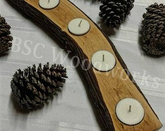 Wood Log Candle Holder, Rustic Wood Candle Holder, Votive Candle Holder, Mountain Laurel, Wedding Candle Centerpiece, Rustic Wedding