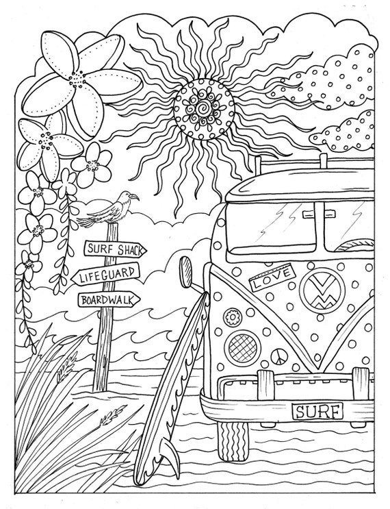 5 Pages Beachy Escape Coloring Digital Color Pages Shells
