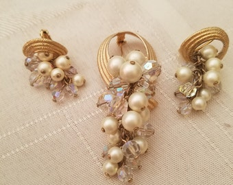 Beautiful Dangling Brooch with matching earrings of faux pearls and sparkling beads set with gold tone metal