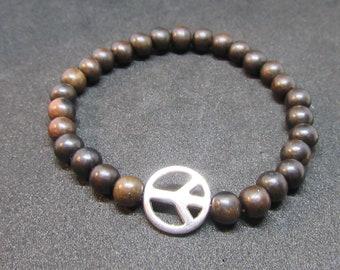 Tiger Ebony Wood Peace Bracelet, Men Bracelet, Women Bracelet, Gift Idea, 6mm