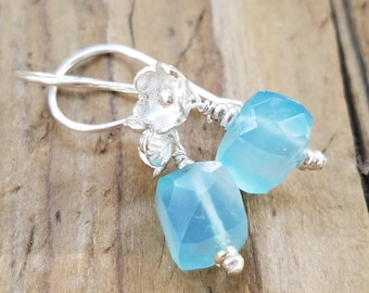 Blue Chalcedony Earrings and Hill Tribe Silver, Sterling Silver, Karen Hill Tribe Flower Earrings, Pierced Earrings, Light Blue Chalcedony