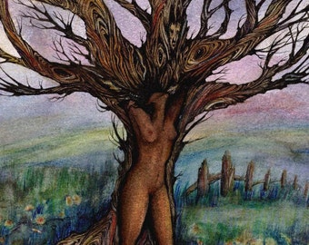 Dryad tree spirit art print from an original painting by Liza Paizis African tree goddess art