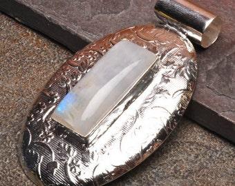 Unique Genuine Moonstone Silver Plated Pendant