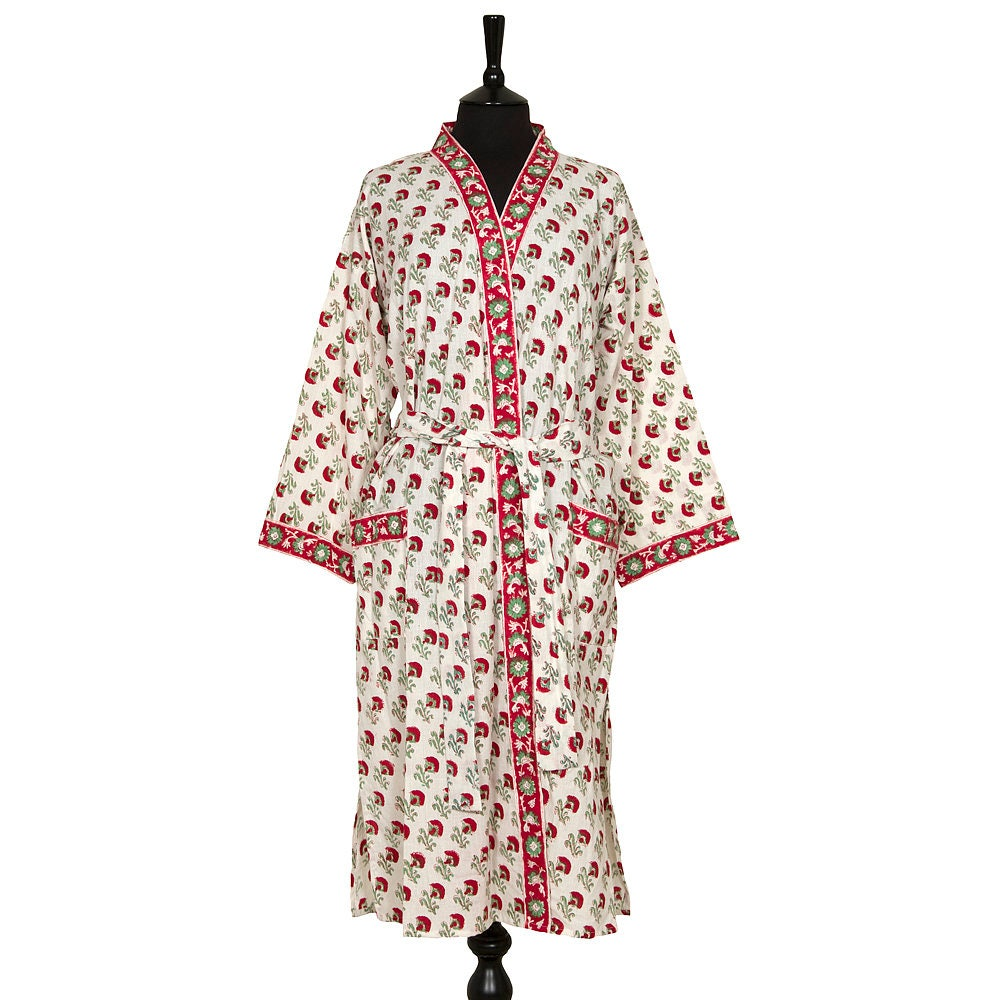 COTTON DRESSING GOWN Block printed Red and Green flower