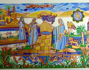 Egg Tempera on Paper, Moses and Jethro's daughters,  Gouache, Parchment  Gift, Bible Stories, Original painting, , Handmade Painting