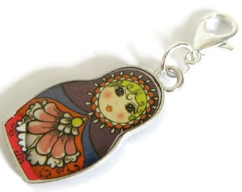 Knitting Progress Keeper | Knitting Project Bag Zipper Pull | Crochet Stitch Marker | Removable Stitchmarker | Russian Doll in Color (P057)