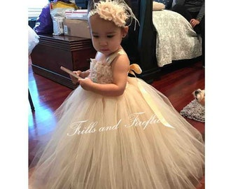 Champagne Shabby Chic Flower girl dress / Champagne Shabby Chic Bridesmaid Dress / Girls Dresses / Prom Dress / Flower Girl Gift / Wedding