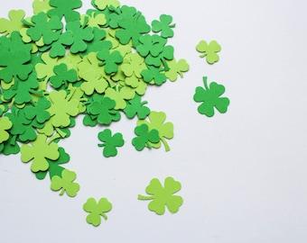 Irish wedding confetti - green shamrock lucky clover table decor - party table confetti - Travel album leaf decor - Scrapbooking paper punch