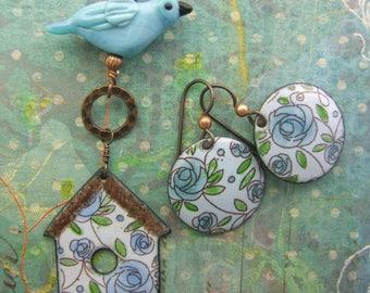 Aqua Birdhouse Enamel Pendant, Copper Enamel Jewelry handmade in North Carolina