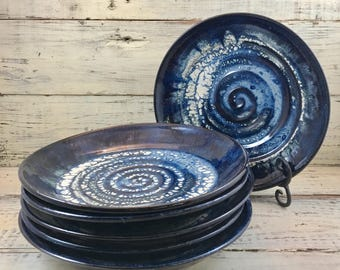 Pottery, Handmade Stoneware Ceramic Plates Salad Set of 6