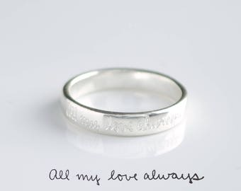 Actual Handwriting Engraved Ring, Personalized Fingerprint Band, Custom Silver Memorial Jewelry, Engagement ring, 4mm Sterling Silver