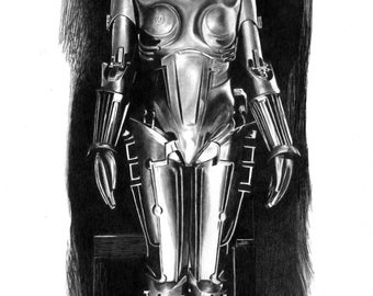 Maria. The robot from the 1927 movie Metropolis - Original Graphite Portrait