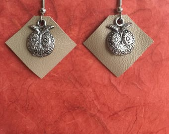 Owl and Leather Earrings, Perfect Gift, BFF, Birthday, All occasions