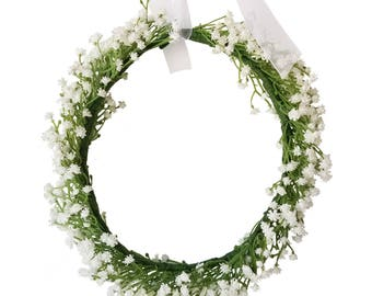 Women Babys Breath Flower Crown Hair Wreath Headband with Adjustable Ribbon for Wedding Festivals