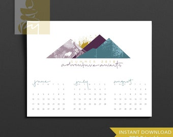 Mountain Sunrise Summer Calendar 2018 PRINTABLE