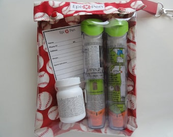 Baseball Epi Pen Clear Front Case w Swivel Clip Holds 2 Allergy Pens Medications First Aid ID Card Free Gift Included