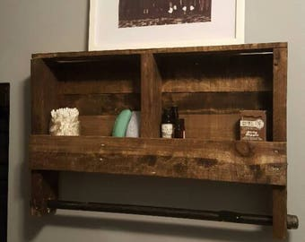 Reclaimed Wood Iron Rod Double Towel Rack Bathroom Shelf Rustic Home Decor Pallet Furniture Towel Rack