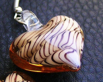 1 MURANO COLOR BROWN 24 * 32 MM BEAUTIFUL PATTERN HEART