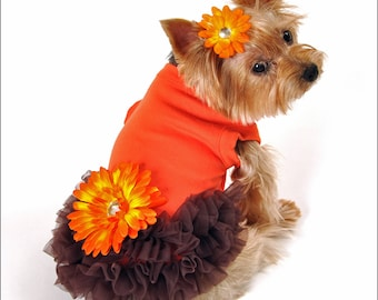 Orange Brown Fall Ruffled Dog Dress for Small to Large Dog Breeds