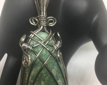 Green Aventurine Pendant Gunmetal wire wrap
