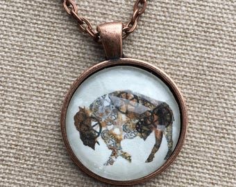 Steampunk Buffalo Necklace - Steampunk Buffalo Pendant - Buffalo Jewelry - Buffalo NY - Buffalove - Buffalo Gift - Buffalo Art