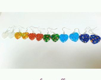 heart earrings, glass heart earrings, floral heart earrings, millefiori earrings, glass bead earrings