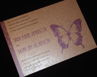 Embossed Butterflies - Wedding Invitations