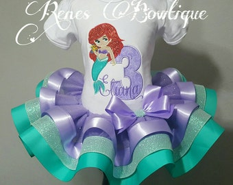Deluxe Mermaid Birthday Ribbon Tutu Set | Birthday Party Outfit | Purple and Teal