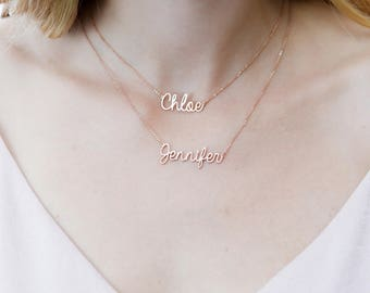 hollywood necklace or silver name sterling personalized gold names ip over chains script