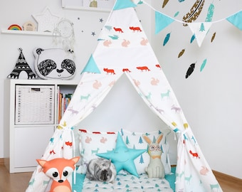 "FREE SHIPPING teepe ""Squirrels, foxes, deer"", kids teepee play tent wigwam, children's tipi, playtent, tipi, wigwam, kids tipi, play teepee"