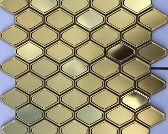 "Metallic Mosaic Tile Hexagon Gold/Rose Gold/Silver Stainless Steel Backsplash Metal Tiles Bathroom Wall Decor (6 PCS, 11.8""x11.8"" /each)"
