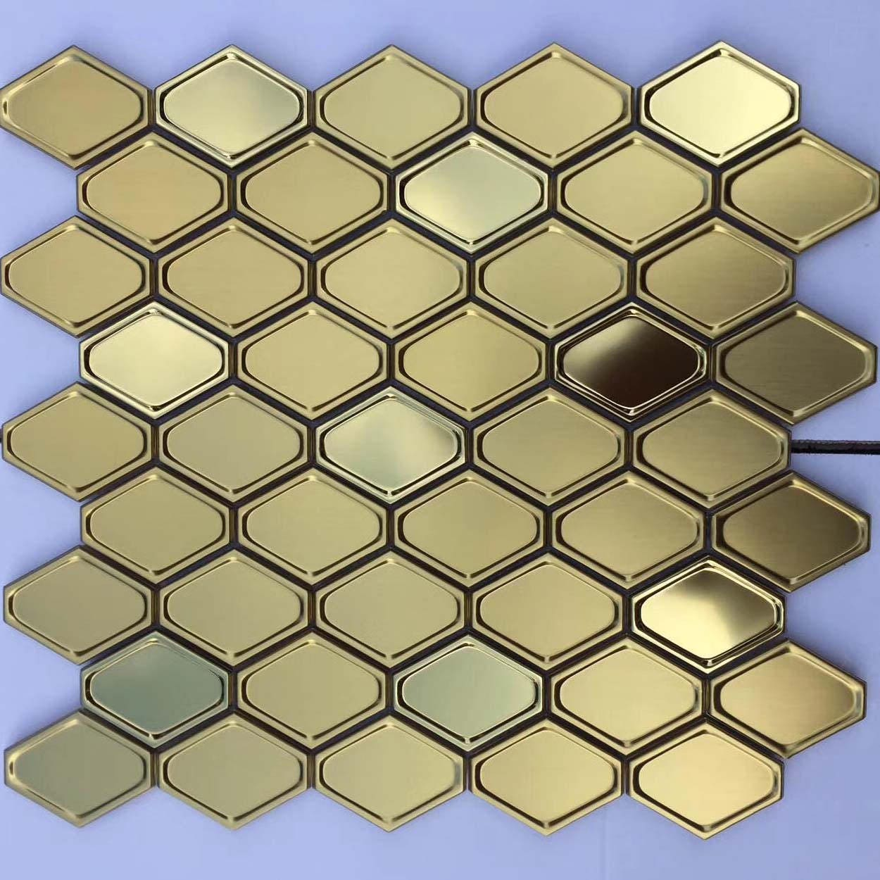 Metallic Mosaic Tile Hexagon Gold/Rose Gold/Silver Stainless