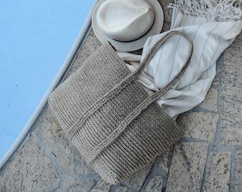 handmade jute rectangular tote,large crochet bag,raw,natural, rustic,boho,double organic jute twine