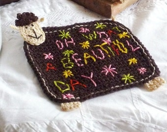 Personalized Sheep Coaster- Crochet Lamb Coaster - Gift for Mom